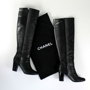 Chanel Dark Silver Tall Leather Boots. 40 EUR